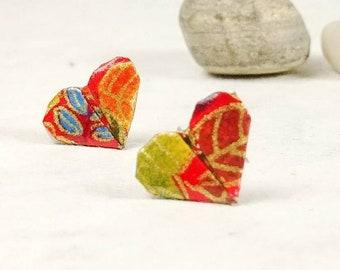 Boucles d'oreilles rouge | Boucles d'oreilles coeur | Bijou en papier | Origami par Ökibo