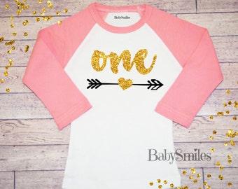 First Birthday Shirt Gold Birthday Shirt One Birthday Baby Girl Birthday One Girl Birthday Shirt Girl Gold Glitter One Arrow Shirt 150