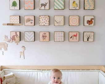baby animal nursery art print, Woodland Nursery Art, nursery decor, animal prints,  Choose (18) EIGHTEEN Custom Designs  nursery print
