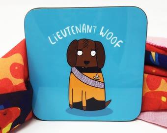 Lieutenant Woof - Star Trek Coaster - Star Trek fan art  - Pun Coaster - Gift for him - Worf - Mat - Katie Abey