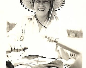 "Vintage Snapshot ""Air-Conditioned Sombrero"" Pierced-Brim Sun Hat Smiling Teenage Girl Rowing Boat Mini Snapshot Found Vernacular Photo"