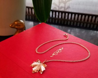 Rose Gold Maple Leaf Necklace