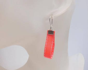 Neon orange Ribbon earrings