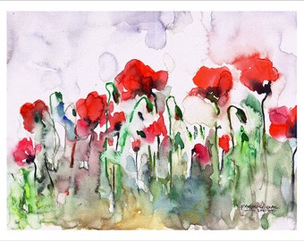 Poppies Watercolor Painting by Faruk Koksal - Print on 290 gr. Textured Fine Art Paper / Christmas Gift