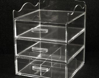 Clear Acrylic Make-Up and Cosmetics Organizer - 3 Drawer