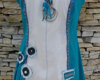 Turquoise and white designer tunic T 44 46
