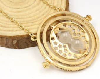 Miniature sand Time Turner Inspired Hermione Harry Potter Deathly Hollows Gold Plated Necklace Chain Gryffindor Sand Charm Spinner handmade