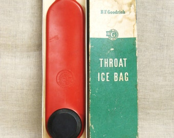 Vintage Ice Bag, Throat, Water, Medical Collectibles, Health, First Aid, BF Goodrich, Rubber Bag, Original Box, Health Aids,Red,Spinal Pain