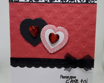 Black and Red Valentine card, lovingly entwined hearts