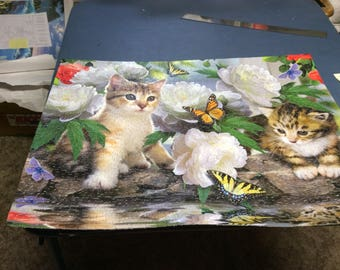 """Kitties jigsaw puzzle measures 20""""x27"""" ready to frame"""