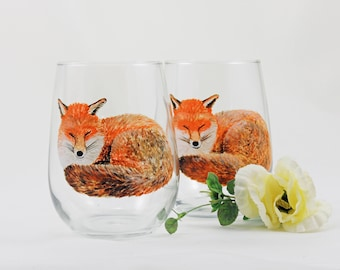 Fox wine glasses - Hand painted stemless wine glasses - Set of 2