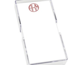 Monogrammed Mini List Sheets with Acrylic Holder, Loose Notes, Gift, Teacher, Family, Personalized, Quick Ship, Fast Turnaround