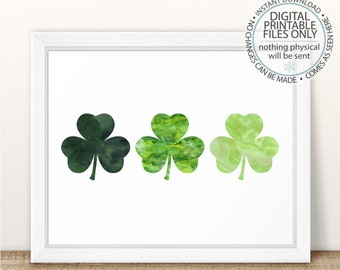 Three Shamrocks, Shamrock Printable, St Patrick's Day Printable Wall Art, Watercolor Shamrocks Print, Irish Shamrock Print, Irish Print