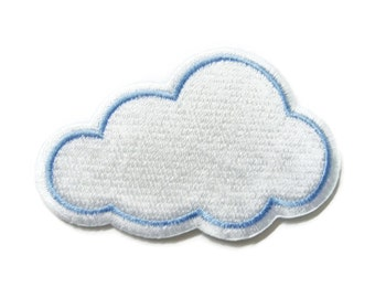 White Cloud Embroidered Applique Iron on Patch 7.4 cm. x 4.6 cm.