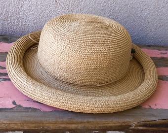 "Vintage Kaminski hat 100% Natural color Raffia made in Australia - bowler style chic boho guality - med/Large 22 1/4"""