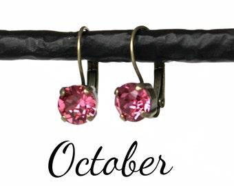 October Birthstone Drop Earrings - 8mm Rose Pink Swarovski Crystal Earrings