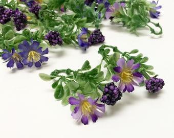 One Lot of PURPLE Honeysuckle Berry Stems, Greenery, Filler - Artificial Flowers, Flower Crown