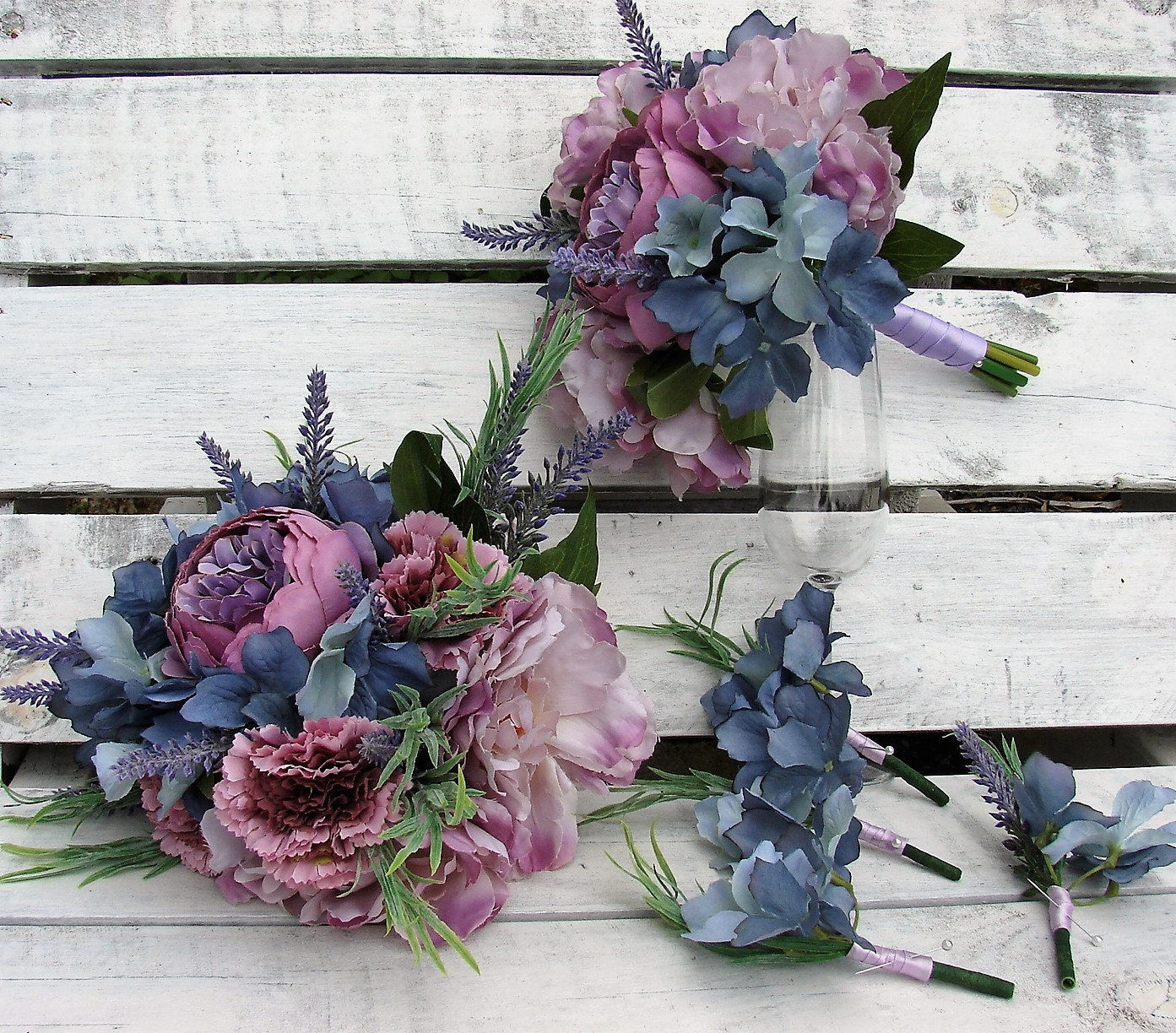 Lavender SHABBY CHIC , 8 piece Wedding BOUQUET set, silk flowers ...