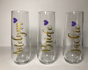 10- Stemless Bridal Party Champagne Glasses