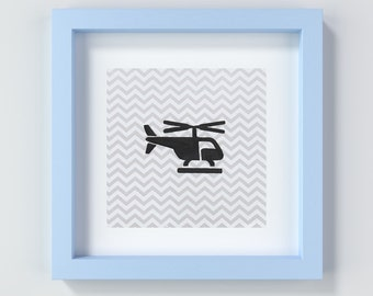 Helicopter Art Print, Baby Boy Helicopter Art, Baby Boy Flight Decor, Baby Boy Gift, Baby Shower Gifts, Nursery Prints