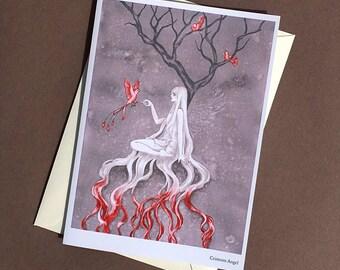 Crimson Angel Greeting Card