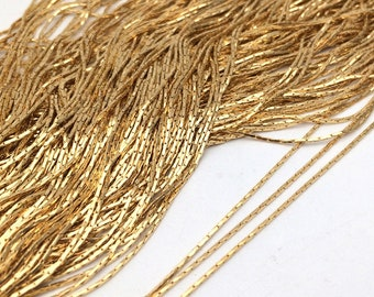 5/20meters 0.75mm wide Anti-Tarnish Real Gold Plated Over Stainless Steel Flat Cobra Chain Findings