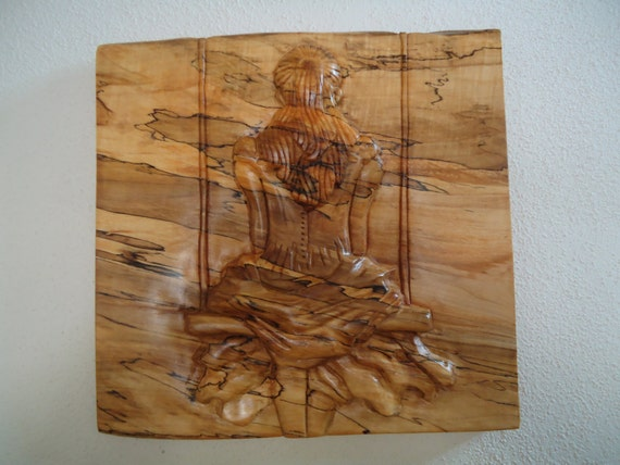 Spalted maple wood carving alice in wonderland artwork