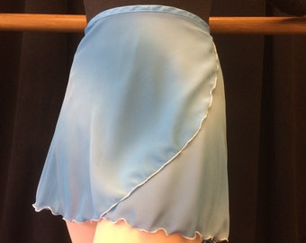 Youth Chiffon Ballet Wrap Skirt - Blue Striped Ombre