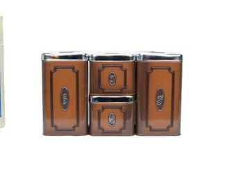 Vintage Canister Set, Classic Canister Set, Retro Tin Canister Set, Classique Canister Set, Classic Canister Set
