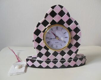 Pink and Black Diamond French Style Checkerboard Mosaic Working Clock