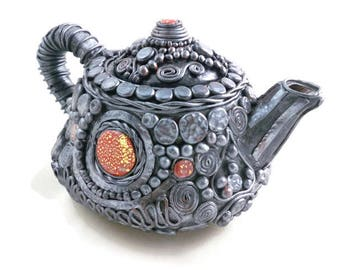 Decorative collectible teapot pewter polymer clay over ceramic amazing detail