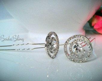 Anissa- Art Deco Bridal Hair Pins, bridal hair pins, wedding hair pins, crystal hair pins, rhinestone hair pins, art deco hair pins