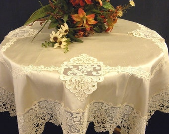 Tablecloth  with  Lace Ecru Silk Luxury: RM-01