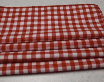 9 x 9 Inch Red and White Gingham Cocktail Napkins