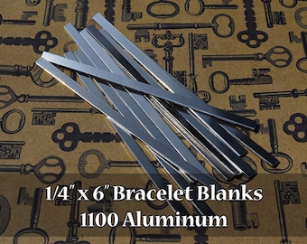 25 - 1100 Aluminum 1/4 in. x 6 in. Bracelet Cuff Blanks - Polished Metal Stamping Blanks - 14G 1100 Aluminum - Flat