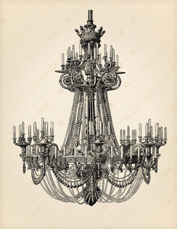 Instant download printable ornate chandelier shabby chic aloadofball Image collections