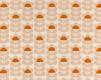 Fabric, vintage, 70s, retro, seventies, pink, orange flowers