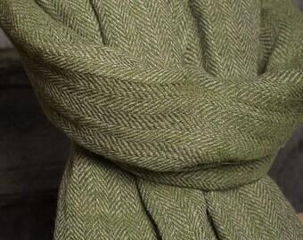 Pure 100% linen shawl Moss green shawl herringbone pattern