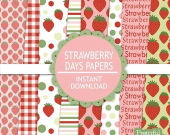 Strawberry Digital Paper Strawberry Pattern Background