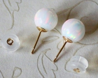 Solid gold white opal stud earrings- 6mm opals-Multiple colors- 14K gold opal earrings- White gold opal studs- Birthday-Christmas-Bridal