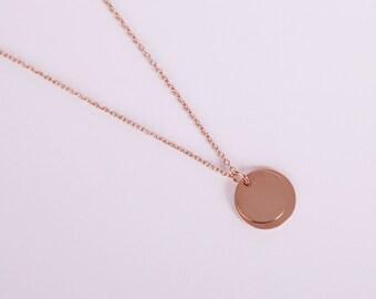 Rose Golden Necklace Disc Rosegold  Coin Rose Gold Necklace