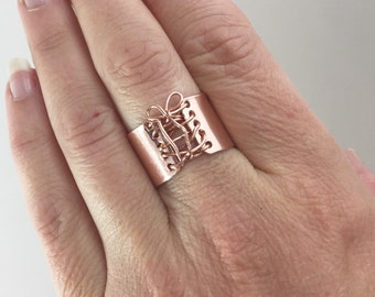 Handmade Ring, Copper Ring,  Wide Band Ring,  Statement Ring,  Corset Ring
