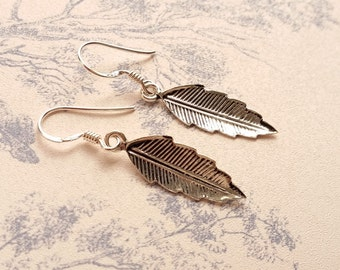 Ladies Leaf Feather Handmade 925 Sterling Silver Drop Dangle Earrings