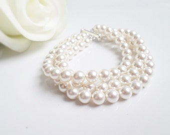 FREE US Ship 3 Strand Swarovski Pearl Bridal Bracelet, 3 Strand Bridal Bracelet, Pearl Bridal Bracelet, Classic Pearl Bridal Jewelry