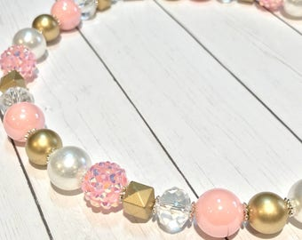 Pink and Gold Beaded Necklace - Girls Necklace - Toddler Necklace - Kids Necklace - Mommy & Me Necklace