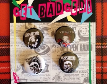 The Exploited 1 inch badge set of 4
