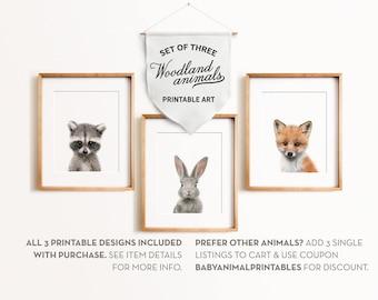 Woodland animals, Baby animal prints, The Crown Prints, PRINTABLE art, Baby raccoon print, Bunny rabbit print, Fox print, Nursery wall decor