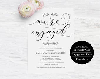 Printable Engagement Invitation Template, We're Engaged, Calligraphy Wedding Engagement Party DIY, Printable Wedding Engagement,MSW230