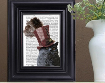 Steampunk Grey cat print & Top Hat ,cat poster, cat decor, cat illustration, cat picture, cat gift, cat lover, Dictionary cat art, cat print