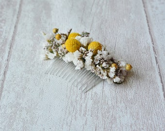 Dried flowers hair comb natural and rustic yellow hairpiece country wedding floral bridesmaid comb wedding headpiece